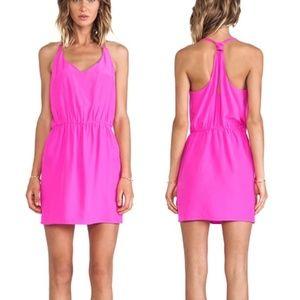 AMANDA UPRICHARD Vivid Pink 100% Silk Dress Medium